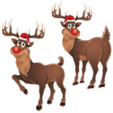 Rudolph The Reindeer Two Poses Royalty Free Stock Photos