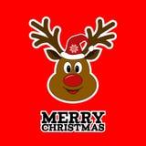 Rudolph Reindeer Vrolijke Kerstmis stock illustratie