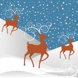 Rudolph-Ren-Weihnachtshintergrund Stockfotografie