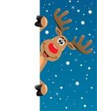Rudolph-Rotwild, die unbelegtes Papier für Ihren Text anhalten Lizenzfreie Stockbilder