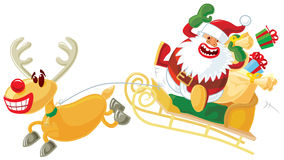 Rudolph and Santa on a sleigh Stock Photo