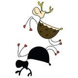 Rudolph santa sleigh christmas cartoon hand drawn Stock Images