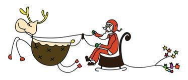 Rudolph santa sleigh christmas cartoon hand drawn. Illustration Stock Photography