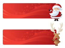 Rudolph Santa Toppers. Swirly red festive page headers with Santa and Rudolph Stock Photography