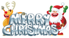 Rudolph and Santa xmas message Stock Photography