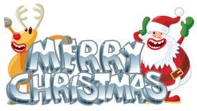 Rudolph and Santa xmas message. Vector illustration stock illustration