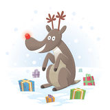 Rudolph sitting in the snow with presents. Rudolph the Red-Nosed Reindeer, design suitable for Christmas card Stock Photos