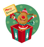 Rudolph. Stands in a gift box Royalty Free Stock Images