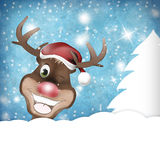 Rudolph Wink Christmas Winter. Creative fresh background design Royalty Free Stock Image