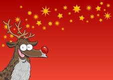 Rudolph z gwiazdami Obrazy Royalty Free