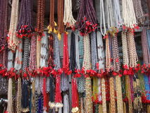 Rudraksh and beads jewelry street market. In india royalty free stock photos