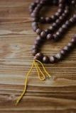 Rudraksha japa mala. Rosary made from rudraksha seeds. Stock Images