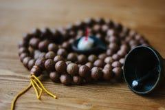 Rudraksha japa mala. Rosary made from rudraksha seeds. Royalty Free Stock Photos