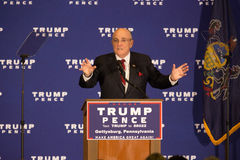 Rudy Giuliani Speaking in Gettysburg. Gettysburg, PA, USA - October 22, 2016: Mayor Rudy Giuliani offering opening remarks at an event for Presidential candidate Stock Image