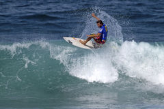 Rudy Palmboom surfing in the Triple Crown Hawaii Stock Images