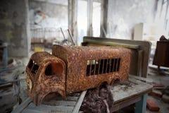 Rudy toy. Kindergarten.Chernobyl area. Lost city Pripyat. Modern ruins. Ukraine. Kiev region Stock Photo