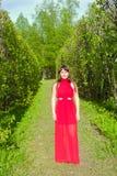 Rudzielec dziewczyna z wspaniałymi formami w czerwonym stroju podczas sesja zdjęciowa. 27 Obraz Royalty Free