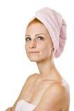 rudzielec kobieta myśląca ręcznikowa Fotografia Royalty Free