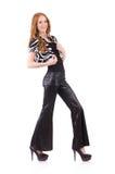 Rudzielec kobieta w czarnych dzwonkowego dna spodniach Obraz Stock