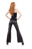 Rudzielec kobieta w czarnych dzwonkowego dna spodniach Fotografia Stock
