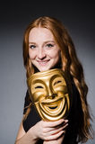Rudzielec kobiety iwith maska Obrazy Stock