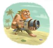 Rudzielec pirat na piaskowatej plaży ilustracja wektor