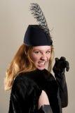 Rudzielec udaje zablokowywać się w czarnym kapeluszu Fotografia Royalty Free