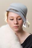 Rudzielec w błękitnym kapeluszu i białym futerku Obraz Royalty Free