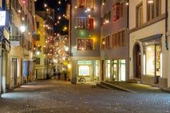 Rue à Noël, Zurich Photos libres de droits