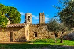 Rue à San Gimignano, Toscane, Italie images libres de droits