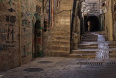 Rue étroite à Jérusalem quart juif Photographie stock libre de droits