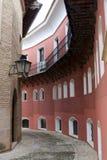 Rue étroite dans le pueblo Espanol, Palma, Majorque Photo stock