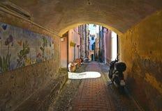 Rue étroite et vieux bâtiments colorés dans le vieux petit village Montemarcello en Ligurie, Italie images stock