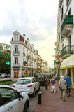 Rue Albert 1st incentral Aix-Les-Bains with pedestrians Royalty Free Stock Photos