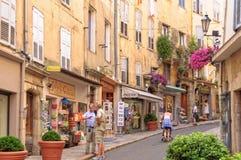 Rue Amiral - Grasse. Shops along Rue Amiral de Grasse - Grasse, France, 10 July 2013 Royalty Free Stock Photos