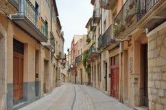 Rue antique de la ville espagnole Montblanc Photo libre de droits