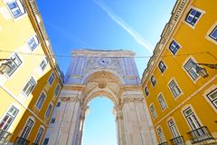 Rue Augusta Arch in Lisbon. Rue Augusta Arch on the Commerce Square. Lisbon - Portugal Royalty Free Stock Photos