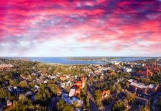 Rue Augustine, la Floride Belle vue aérienne un jour ensoleillé Images libres de droits