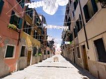 Rue avec des tissus séchant, Venise Images libres de droits
