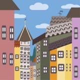 Rue avec les maisons colorées en Europe Image libre de droits