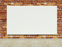 Rue blanc annonçant le panneau-réclame sur le mur de briques illustration stock
