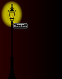 Rue Bourbon Street Sign With Lamp. New Orleons street sign of Rue Bourbon with old gas street light over a dark background stock illustration