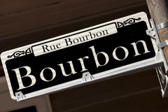 Rue Bourbon street sign - New Orleans Stock Photo