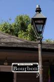 Rue Bourbon street sign and St Ann street Royalty Free Stock Photos