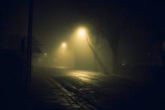 Rue brumeuse la nuit Image stock