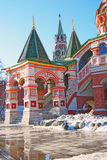 Rue Cathédrale de basilic, grand dos rouge, Moscou, Russie Photos stock