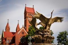 Rue catholique Simon de chapelle et rue Elena à Minsk Photo libre de droits