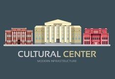 Rue centrale culturelle de bâtiments de ville colorée plate de vecteur Conception de l'avant-projet de fond d'icône Horizontal ur illustration libre de droits