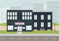 Rue colorée avec l'hôpital Image stock