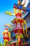 Rue colorée du marché de Suzhou dans le palais d'été, Pékin, Chine images stock